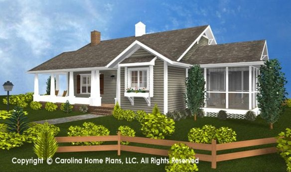 """MOM'S LITTLE HOUSE""  THE STORY BEHIND THE SMALL HOUSE PLAN DESIGN SG-1016-AA   We originally designed this convenient, one story small house plan for a client who wanted a place for her mother who was getting on in years. The idea was for her to live safely nearby in a comfortable home of her own so that she would be able to enjoy the comforts of her own surroundings, with her own furniture and family mementos."