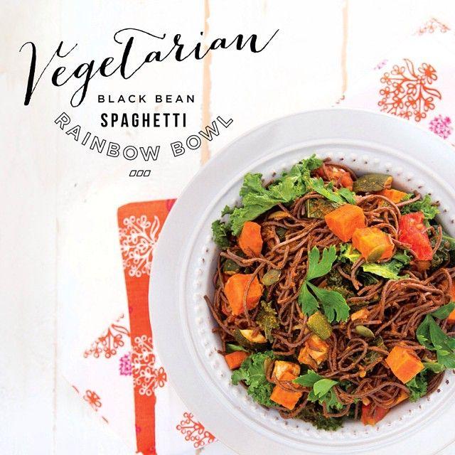 Vegetable Black Bean Spaghetti Rainbow Bowl