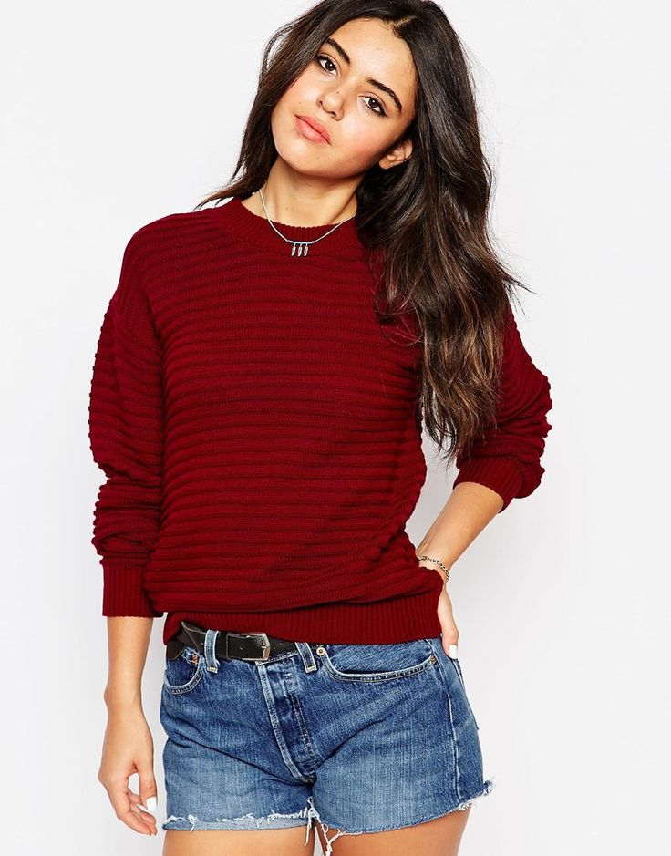 Jersey de canalé color rojo vino