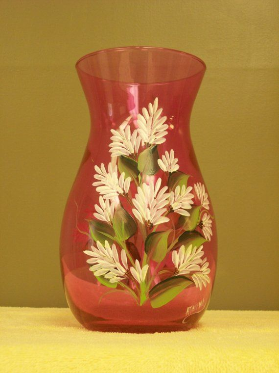 Hand Painted Pink Glass Vase with White Stock Flowers