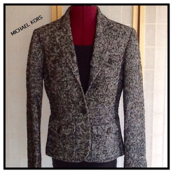 """Michael Kors Herringbone Blazer Beautifully detailed herringbone blazer is 26"""" long. The sleeves are 19"""" long from under armpits.  Excellent condition. Made in Italy. Michael Kors Jackets & Coats Blazers"""