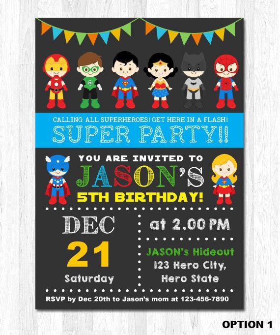 Superhero Invitation, Superhero Invite, Superhero Birthday Invitation, Superhero Birthday Invite by KidzParty on Etsy https://www.etsy.com/listing/218040217/superhero-invitation-superhero-invite