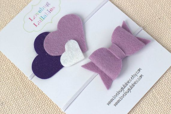 Purple Lavender Heart & Bow Felt Headband or Hair Clip Set; Newborn Baby Child Felt Heart Headband; Felt Bow Tie Headband; Baby Shower Gift