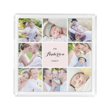 Pink Square Family Photo Collage Square Tray - script gifts template templates diy customize personalize special