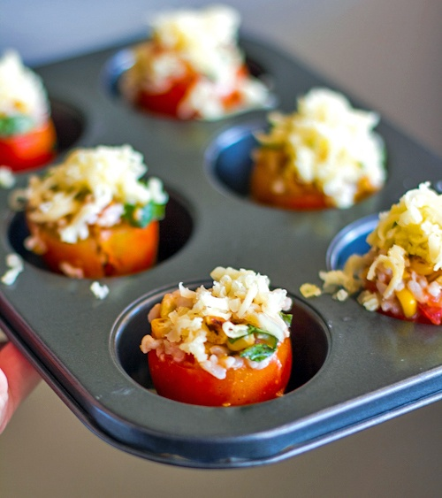 Roasted Corn and Basil Stuffed Tomatoes  #summer #patio #party
