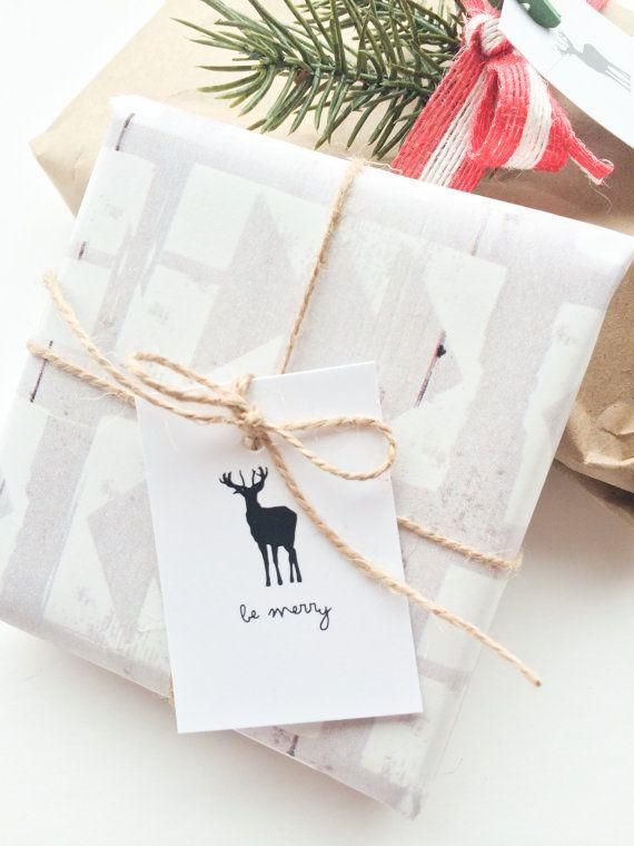 Cadeau de Noël renne balises. Ensemble de 10 par PrintSmitten