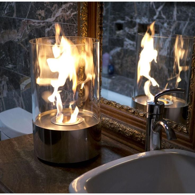 Accenda 19 in. Tabletop Decorative Bio-Ethanol Fireplace in Stainless Steel (Silver)