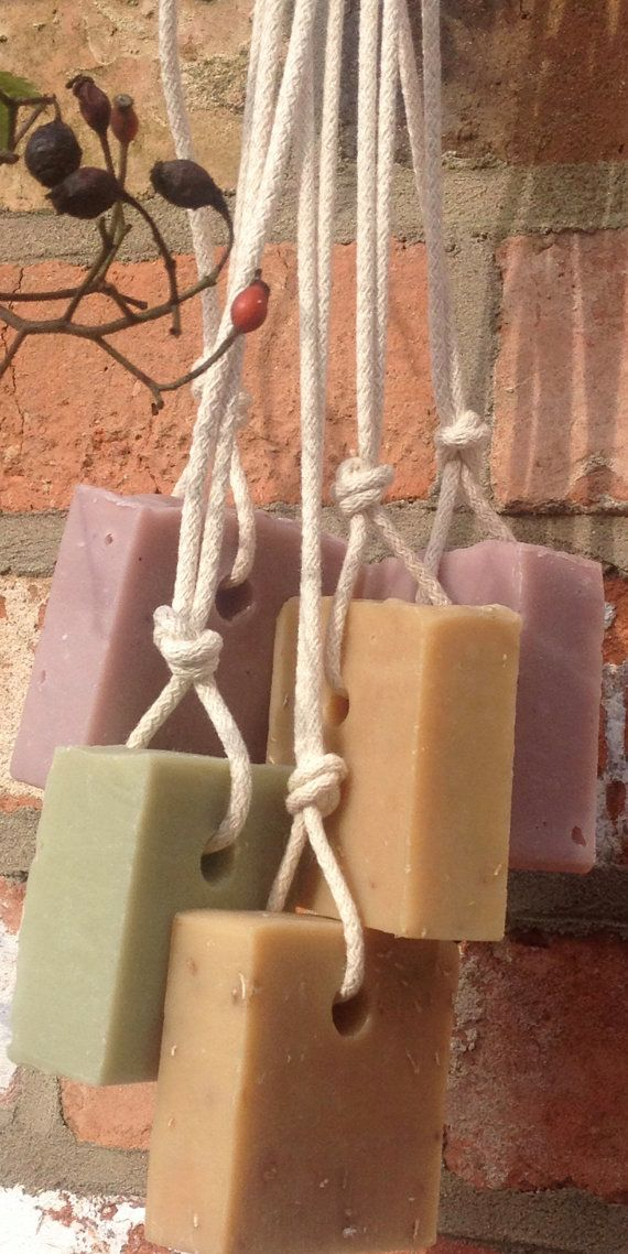 Luxury handmade soap using natural vegetable oils and butters that will nourish and pamper your skin. The fabulous Soap on a Rope! Hung with 100% cotton rope, the soaps are then tied with paper string and embellished with beads and a handcrafted tag. These gifts look classy but have an element of playful fun - suitable for women and men. Four types available; 1. Floral Spice - Floral based essential oils give a subtle musky, spicey scent to this soap and natural clay colourant produces a…