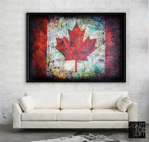 Hand-Painted Canada Flag-Canadian Decor-Distressed by ArtForLoft