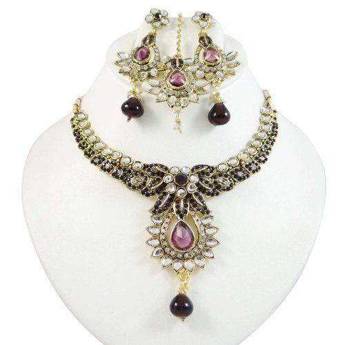Bollywood Plum CZ Gold-Ton Traditionelle Halskette Set indische Frauen-Partei- Wear Designer Schmuck   Your #1 Source for Jewelry and Access...
