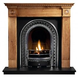 Victorian fireplace with wooden surround.