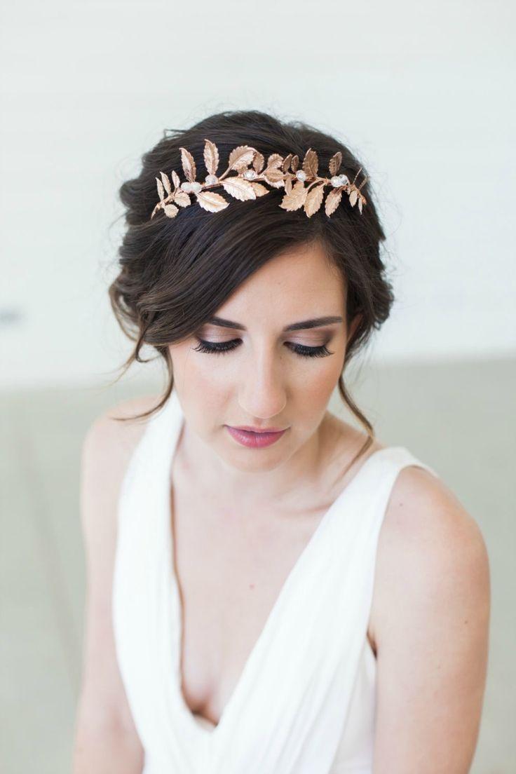Trendy bridal headpiece - Rose Gold Grecian Crown Headpiece