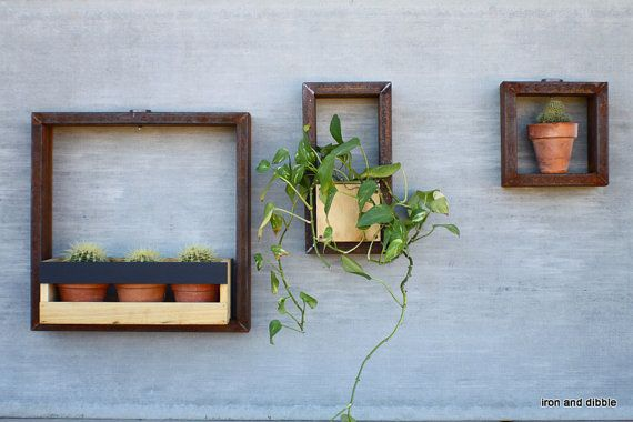 Solar lit Metal Hanging Outdoor Garden Planter Frames - Chalkboard finish   iron and dibble by lindsey weber