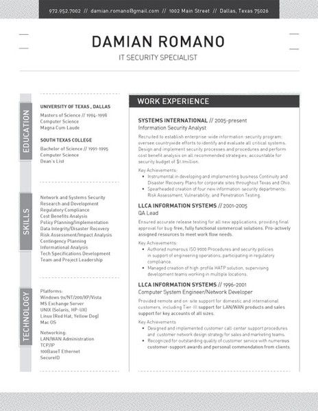 52 best Contemporary Resumes images on Pinterest Resume ideas - Security Specialist Resume