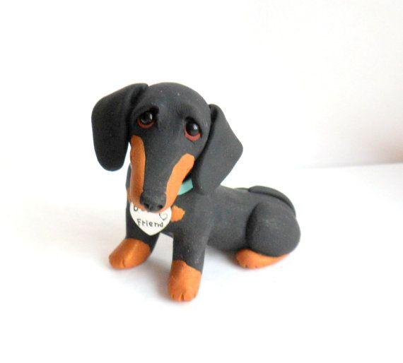 MEJOR amigo Dachshund escultura polímero arcilla Mini por Raquel en theWRC perro coleccionables