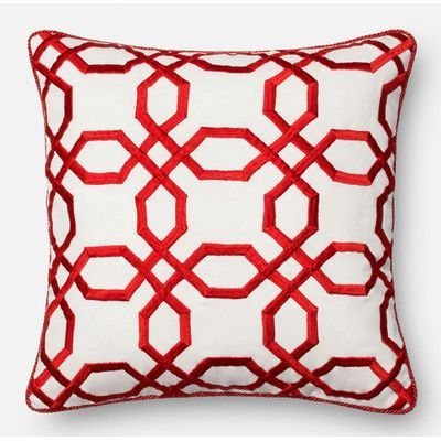 Loloi Rugs Throw Pillow Color: Red/White