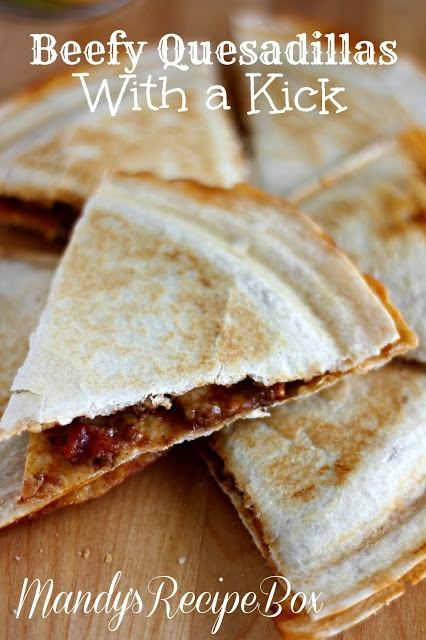 Beefy Quesadillas with a Kick on Mandys Recipe Box.