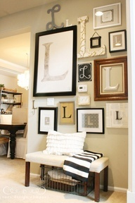 Letter Wall - I love this idea for a small wall you want to decorate and use the letter for your last name and the little bench just ties it all together.