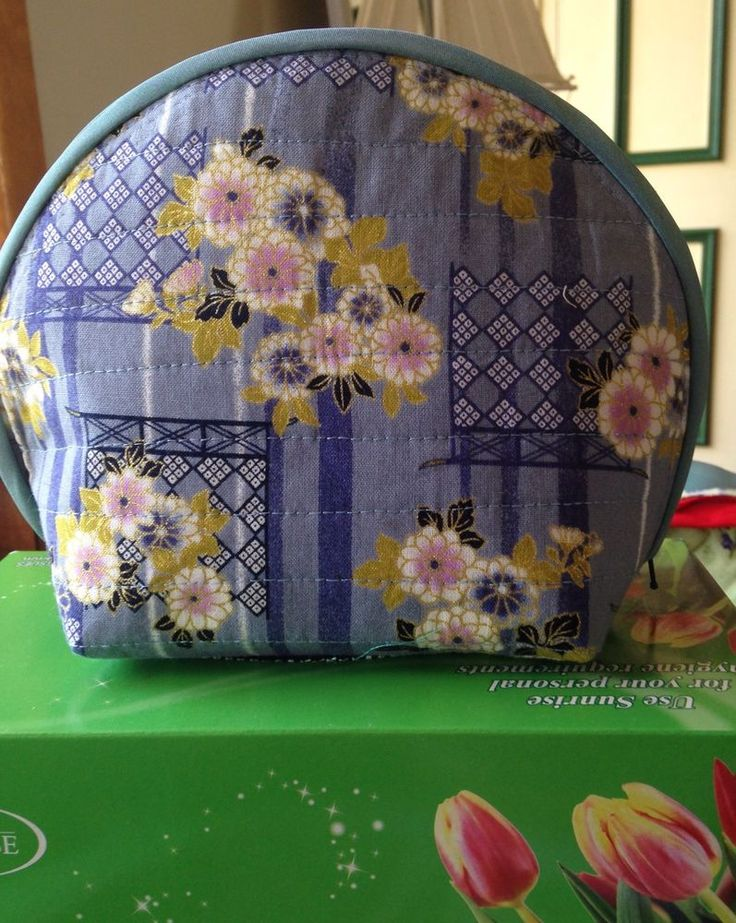 Quilted Purse Tote Make Up Bag Floral Cotton Fabric Asian Pattern Design