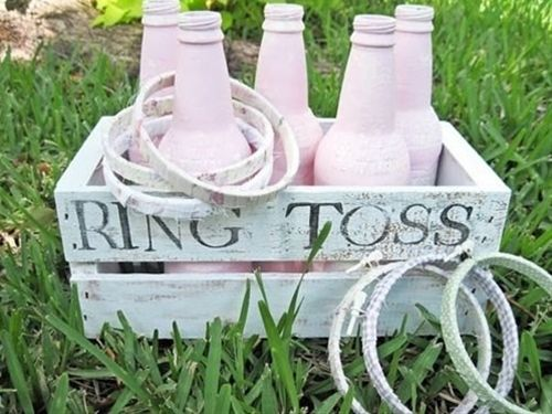 Games for the lawn brilliant! Love how they have been designed with a wedding theme. You could paint the bottles in your wedding theme colour! - Click image to find more weddings posts