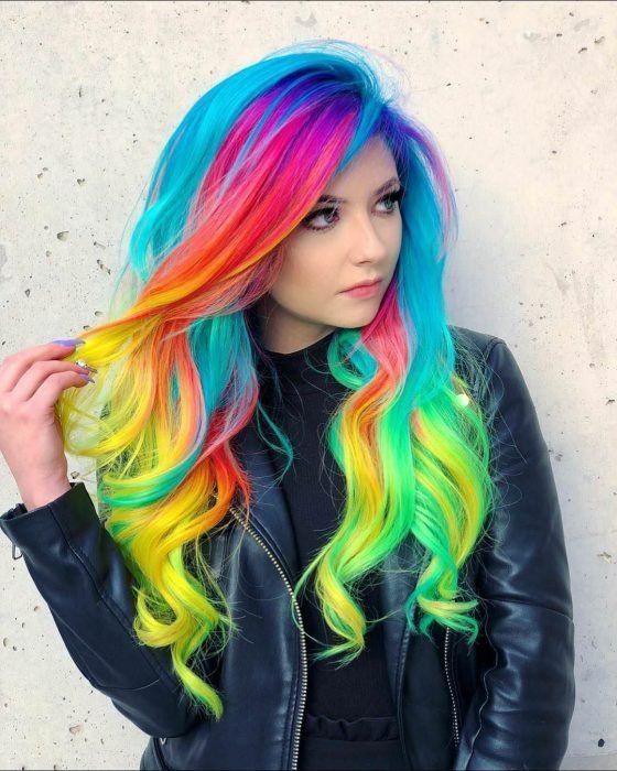 Cute Hair Colors, Pretty Hair Color, Beautiful Hair Color, Hair Dye Colors, Hair Color Dark, Rainbow Hair Colors, Rainbow Dyed Hair, Bright Colored Hair, Colourful Hair