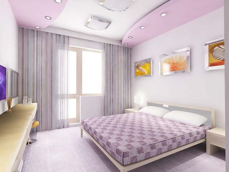 Perfect Design Of Bedroom Ceilings Purple Color Warm