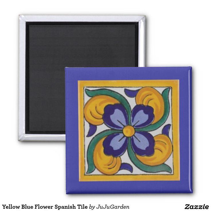Yellow Blue Flower Spanish Tile Fridge Magnets