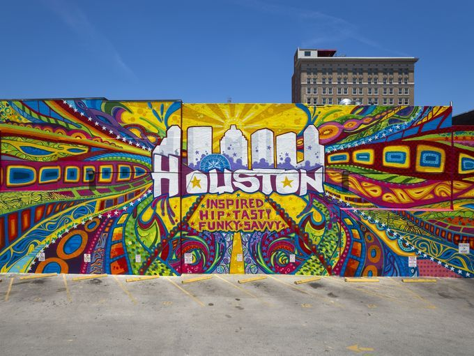 Graffiti artist GONZO247 created a large mural in downtown Houston