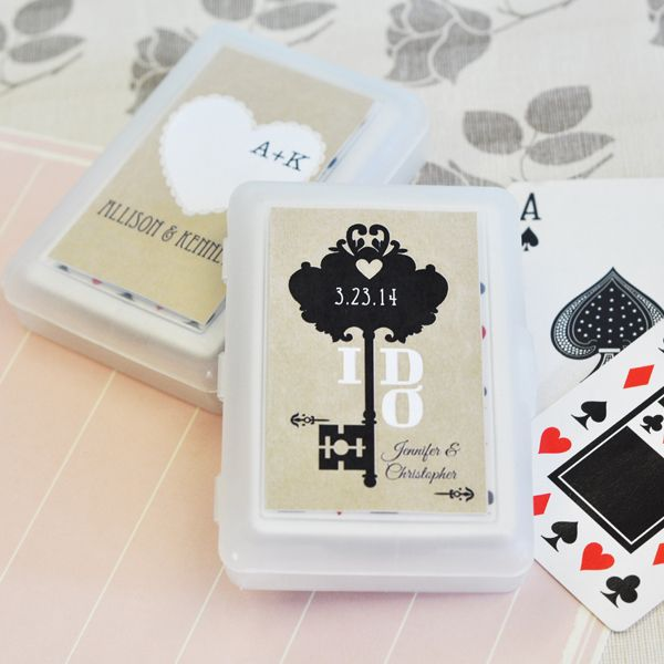 Your guests can bring home the fun of your big day and enjoy it well after the event with our Vintage Wedding Personalized Playing Card Favors! These personalized party favors are ideal for vintage weddings with their unique custom label. They're perfect for traveling and keeping the deck of cards in a safe place at all times. Plus, each guest will reminisce on the special day they shared with you each time they whip out the deck for their favorite card game! Please note: only the outside…