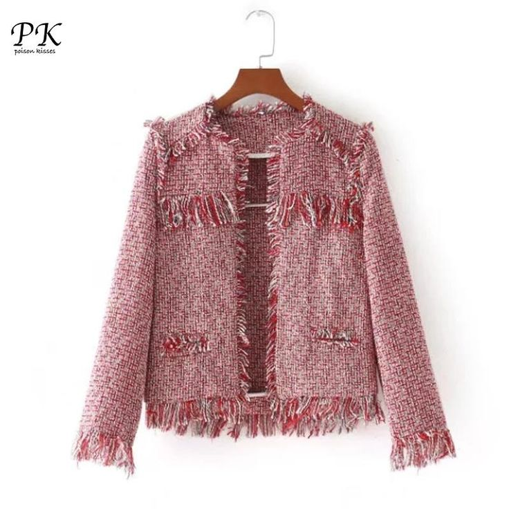 Buy PK 2018 Spring Basic Jackets O Neck Pink Fringe Outwear Checkered  Fashion Office Wear Ladies Jackets Coat Women Tweed Jacket At Jessikas Tops  For Only ...