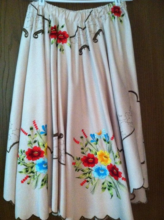 Hand Embroidered Vintage Table Cloth Upcycled By DoodleBugBonnie