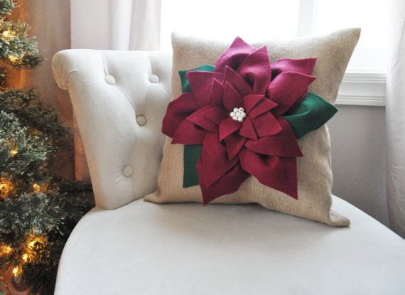 Cranberry Red Poinsettia Flower on Burlap Pillow by bedbuggs