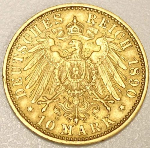 1890 A Prussia Gold 10 Marks Germany EF-40+ on eBay right now - Vancouvercoins