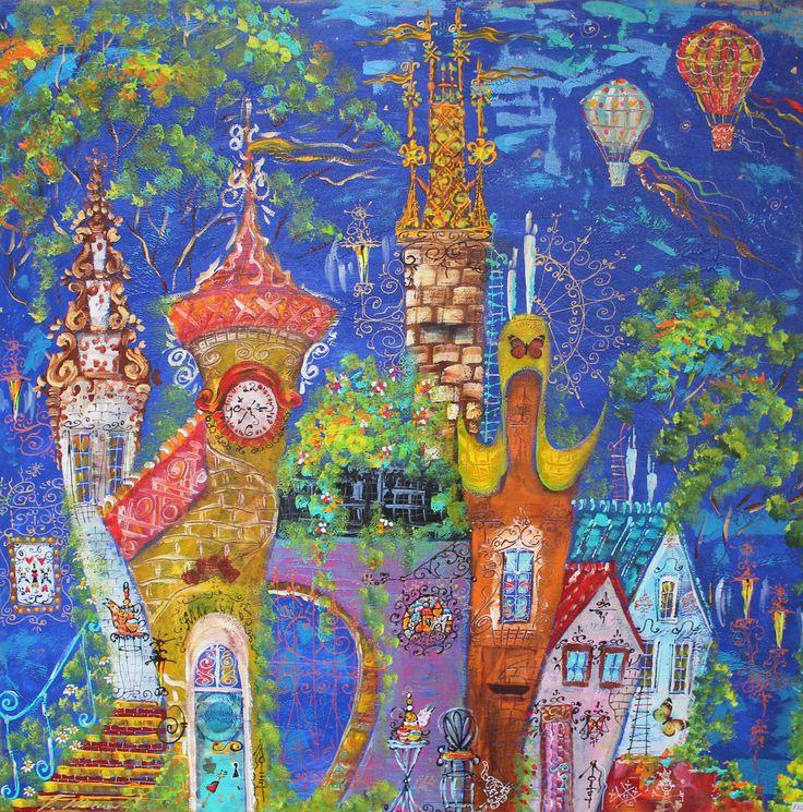 ,,Lucht ballonnen'' 100x100, mixtechnik Painting by Tatyana Murova