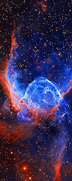 NGC 2359 (also known as Thor's Helmet) is an emission nebula[3] in the constellation Canis Major. The nebula is approximately 15,000 light-years away and 30 light-years in size. The central star is the Wolf-Rayet star HD 56925, an extremely hot giant thought to be in a brief, pre-supernova stage of evolution