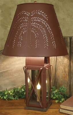 primitive lamp with tin shade