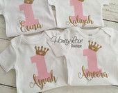 AERODESLIZADOR - número 1 una tiara corona princesa oro brillo camiseta mono, primer cumpleaños, 1 torta Smash niña infantil niño del bebé