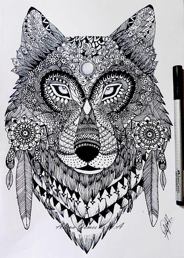 Zentangle wolf by itsalanadeviantart