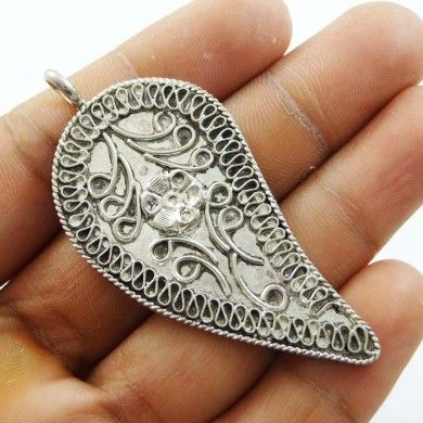 Silvertone Brass Metal Pendant Indian Fashion Jewelry Women Gift For Her