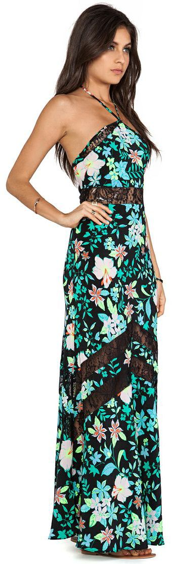 Bright Floral Maxi Dress with Lace Inserts