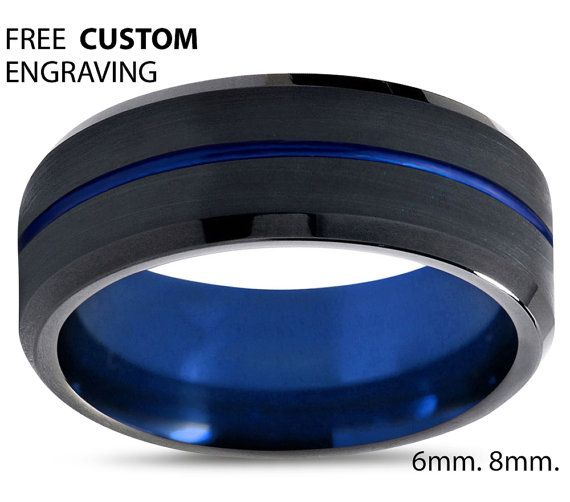 Tungsten Ring Mens Blue Black Wedding Band by BellyssaJewelry