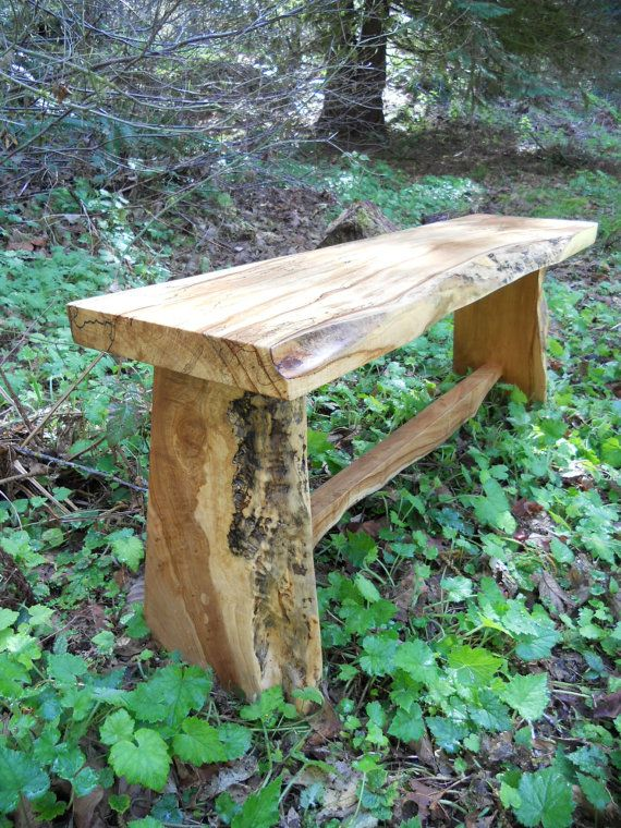 Spalted Maple Bench - Live Edge - Salvaged Wood - 20% donation to charity