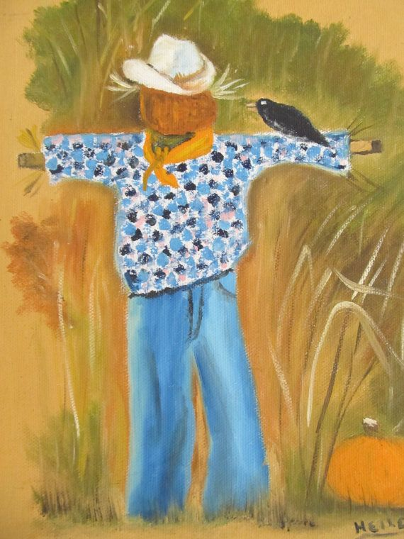 Scarecrow Painting Oil Paintings Original Art by MaggiesCellar