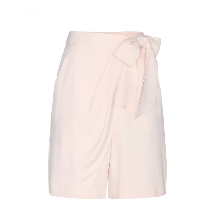 Chloé - Crepe shorts - Made from fluid crepe, Chloé's wrap-style shorts tie at the front for a soft silhouette. The sugar-sweet shade of pink makes for a slightly warmer option than pure white. Make them the focus of your look with a sleek and simple tank. seen @ www.mytheresa.com