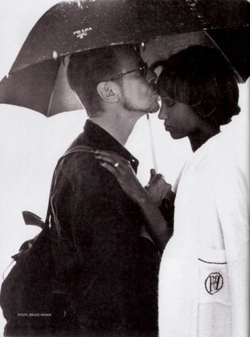 I love this photo of David Bowie and Iman!