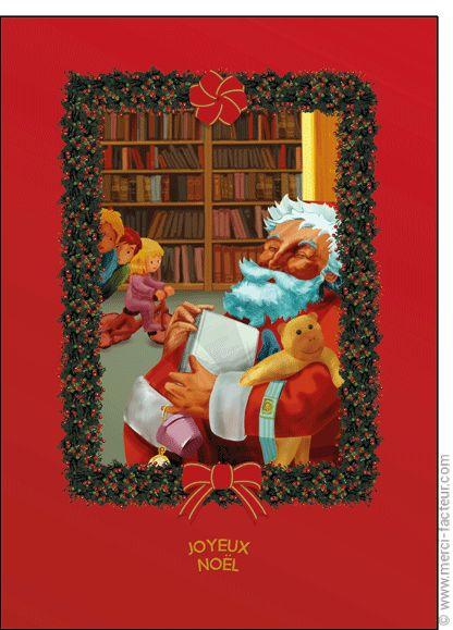 """#Carte #Noël """" #JoyeuxNoël """" Le bon papa No�l sur fond rouge pour envoyer par La Poste, sur Merci-Facteur !"""