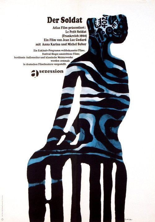 Der Soldat / Petit Soldat / Little Slodier director: Jean Luc Godard |  Polish Movie Poster by Jan Lenica, poster designed for German distribution, year: 1966