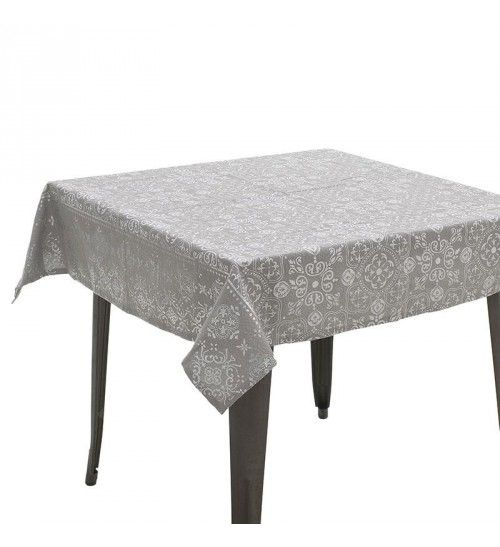 FABRIC TABLE COVER IN GREY_SILVER COLOR 120X120