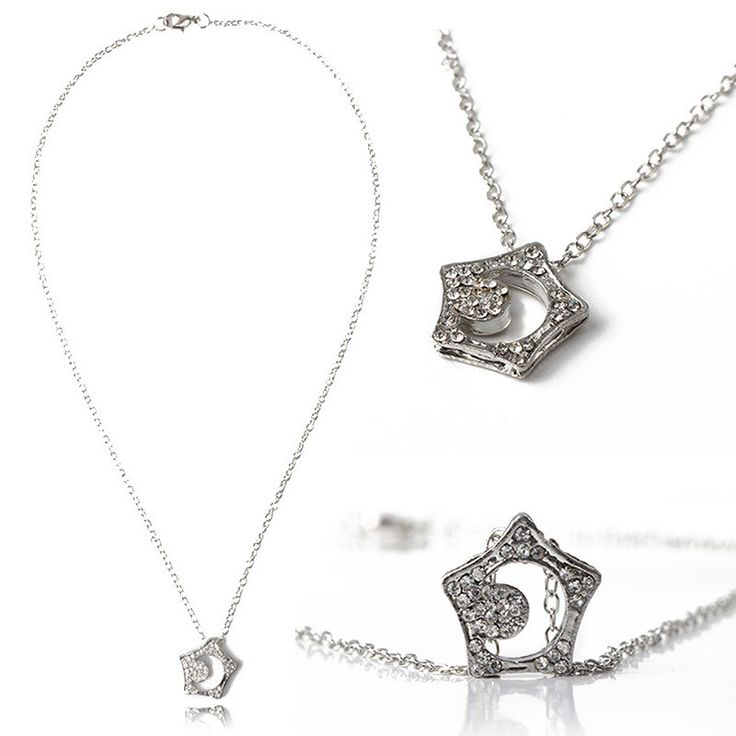 FREE + Shipping Crystal Star Moon Necklace
