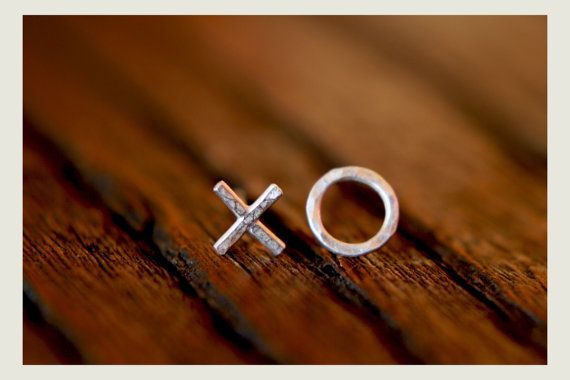 Tiny silver hammered XO post earrings by AmarieCollective on Etsy, $24.00